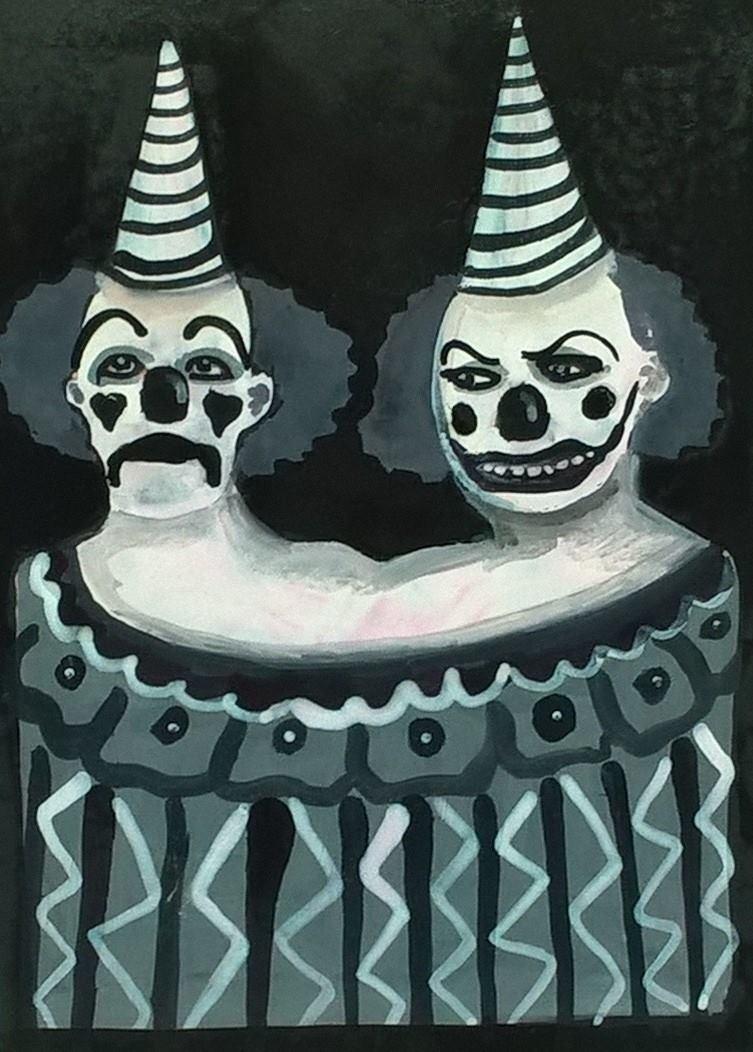 creepy two headed clown